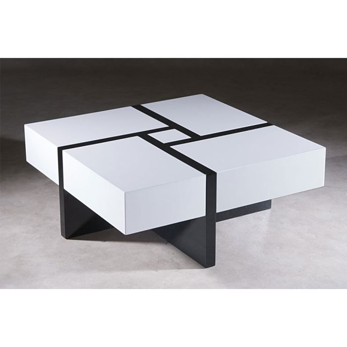 table basse zaggy bois laqu noir et blanc achat vente. Black Bedroom Furniture Sets. Home Design Ideas