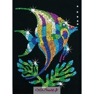 Tableau de sequins poisson tropical sequin art achat for Tableau en sequin