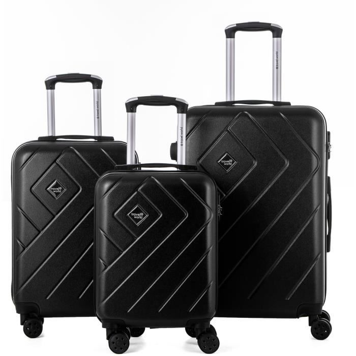 SET DE VALISES TRAVEL WORLD Ensemble de 3 valises 46/56/66cm Noir