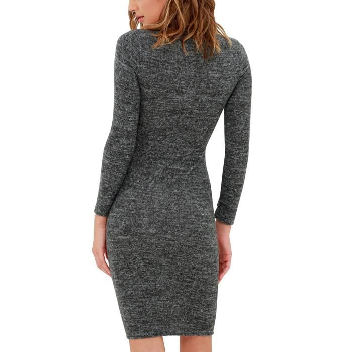 Womens Sweater Long Sleeve High Neck Party Bodycon Jumper Dress 2PPCXJ Taille-32
