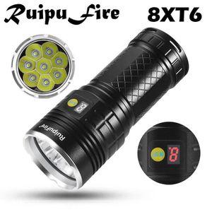 LAMPE DE POCHE RuipuFire 8 x XM-L T6 LED de puissance numérique d