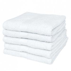 SERVIETTES DE BAIN Lot set 5 serviettes de toilette blanches 50 x 100