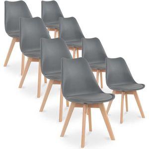 CHAISE Lot de 8 chaises style scandinave Catherina Gris