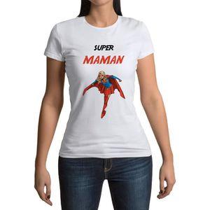 T-SHIRT T-shirt Femme Col Rond Super Maman Super Woman Won