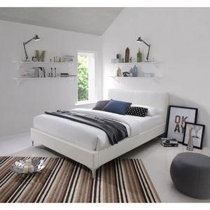 STRUCTURE DE LIT Lit ZOE 160x200 cm en simili cuir, coloris blanc,