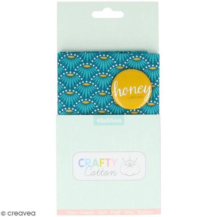 Coupon de tissu coton Crafty cotton - Fleurs géométriques - Fond Bleu pétrole - 45 x 55 cm Coupon de tissu Crafty cotton Artemio :