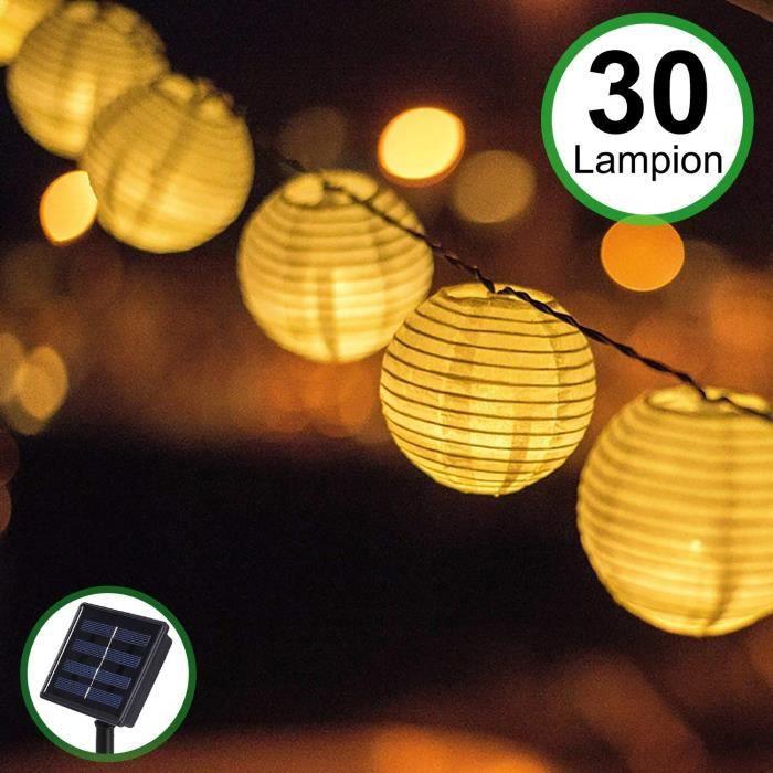 Lampe Solaire Exterieur Jardin, 30 LEDs 5.5M Décoration Guirlande Guinguette Lanternes Solaire Etanche IP65 - Blanche Chaude