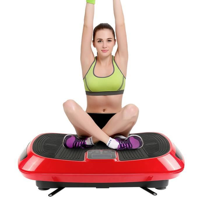 Plateforme Vibrante Oscillante 4D Appareil Fitness avec 2 Cordes de Traction,Haut-parleurs Bluetooth rouge/ noir