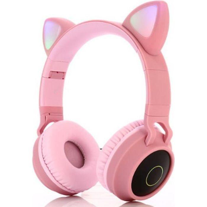 LED Casque Audio Enfant Fille Bluetooth Casque sans Fil Écouteurs Oreille Chat Bandeau réglable pour Système Apple, Android,WP, Rose