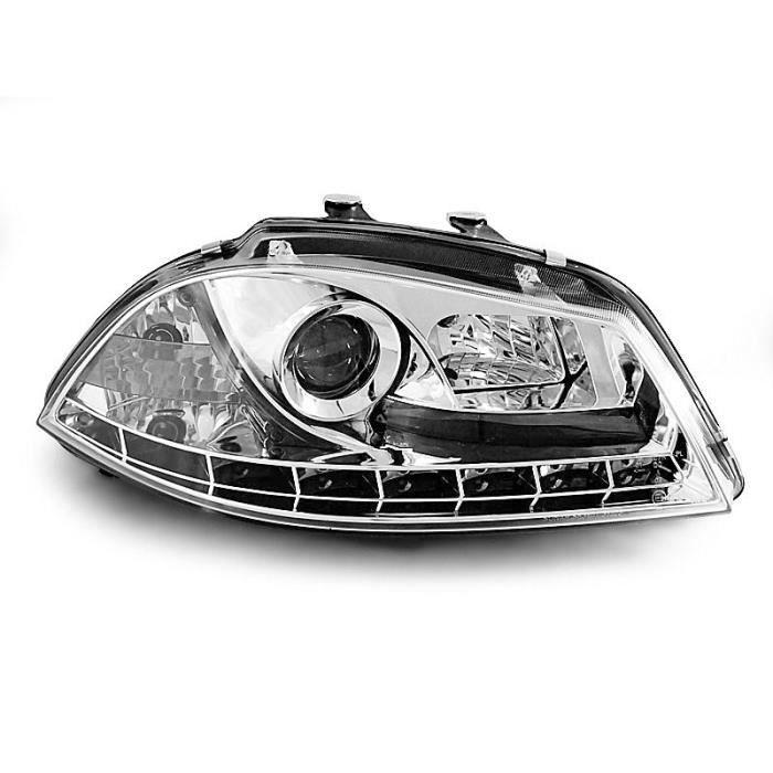 Paire de feux phares Seat Ibiza 6L 02-08 Daylight led chrome (E07)