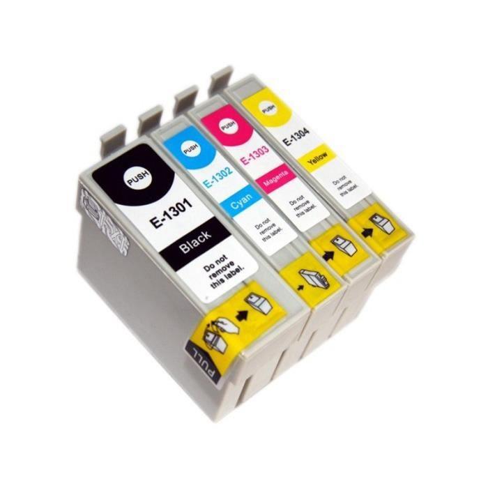 T1301 - T1302 - T1303 - T1304 Pack de 4 Cartouches d encre compatible Cerf Pour EPSON Stylus SX535WD