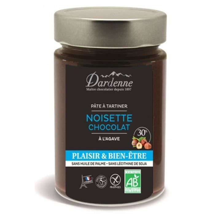 Pâte à tartiner noisettes chocolat à l'agave 300gr - Dardenne