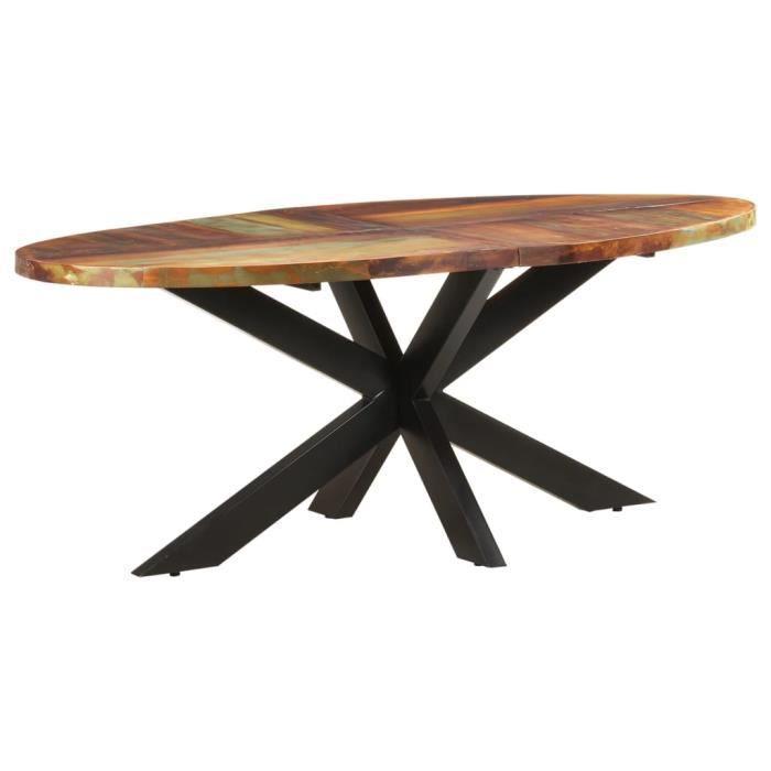 5944FRDECO- Table de salle à manger Table Cuisine pour 4-6 Personnes,style Scandinave Table à dîner ovale 200x100x75 cm Bois de récu