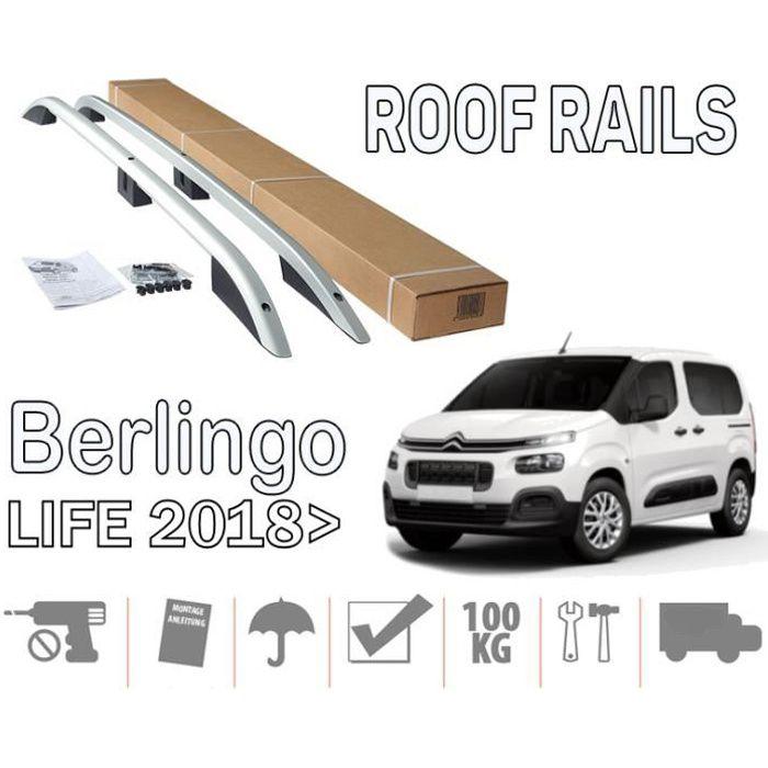 Barres de toit pour Citroen Berlingo III 09/2018> Life court (SWB) longitudinales alu + pieds plastique noir