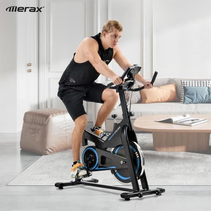 Vélo Spinning Biking d'Appartement Cardio, Poids d'Inertie de 10 KG, Programme, Silencieux, Guidon et Siège Réglable, Bleu - Merax