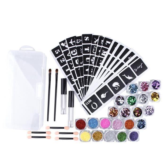 Kit de Tatouage Miroitant Paillettes Multicolores à la Mode Temporaire en Poudre 22X Couleurs pour Body Art Design Peinture, Colle