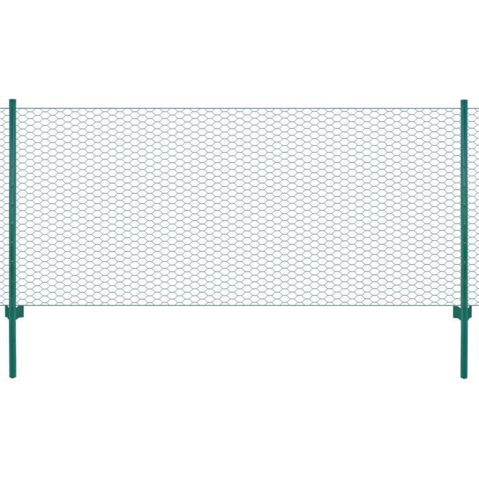 FNCM® Clôture avec poteaux en grillage métallique Style Moderne - Clôture de jardin Panneau de clôture Acier 25x0,75m Vert ❤2437