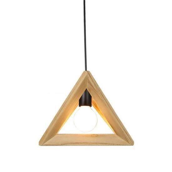 YA*Suspension Design Triangle en Bois 32cm 110-220V Corde Ajustable-Luminaire Suspension Salle à Manger,Design unique, simple