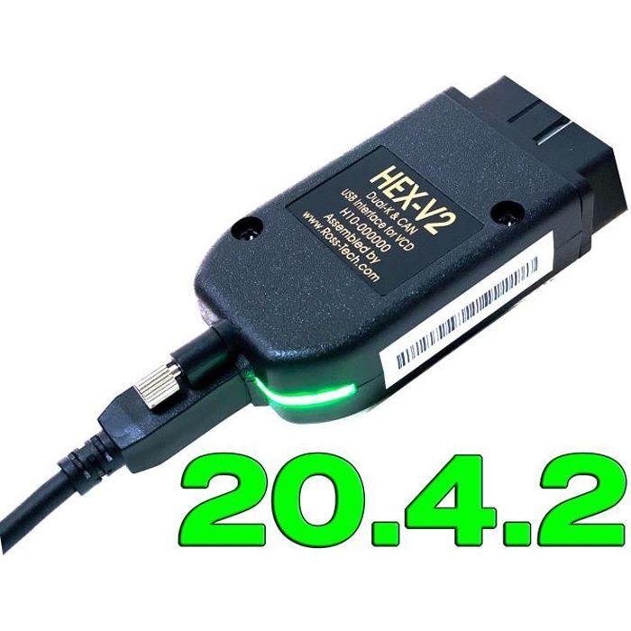 Interface HEX V2 VAGCOM 2021 VAG COM 21.3 pour diagnostic de voiture, pour VW, AUDI, Skoda, Seat, 20.12, polo 20.4.2