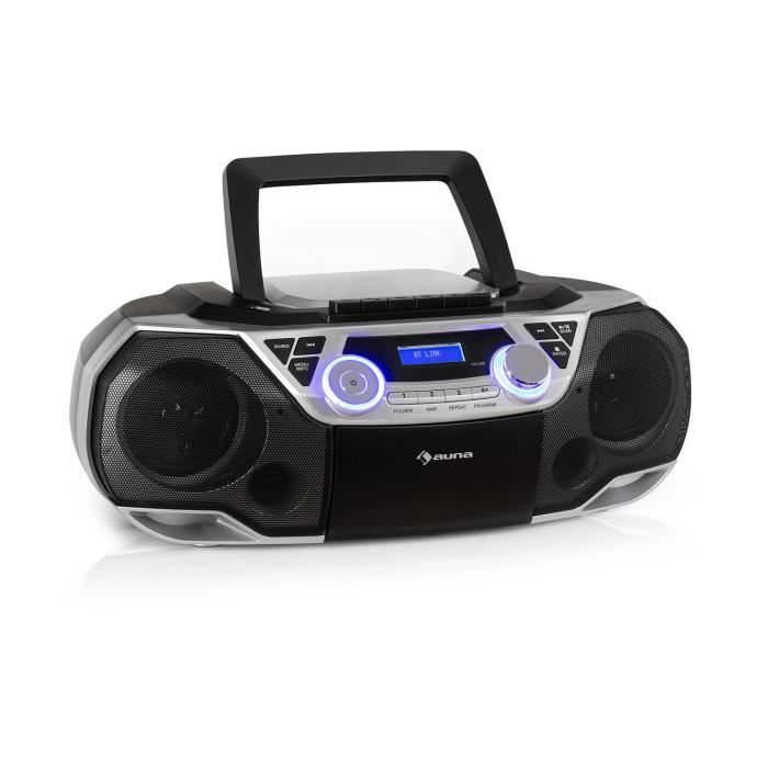 auna Roadie 2K Boombox Lecteur CD radio cassette , tuner DAB - DAB + FM , port USB , interface Bluetooth 5.0 , écran LCD , prise