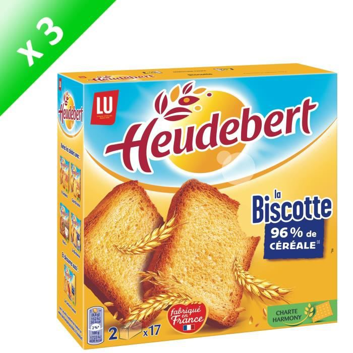 [LOT DE 3] HEUDEBERT 34 Biscottes natures 300g