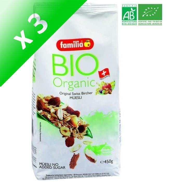 [LOT DE 3] Bircher Muesli Bio 450G FAMILIA