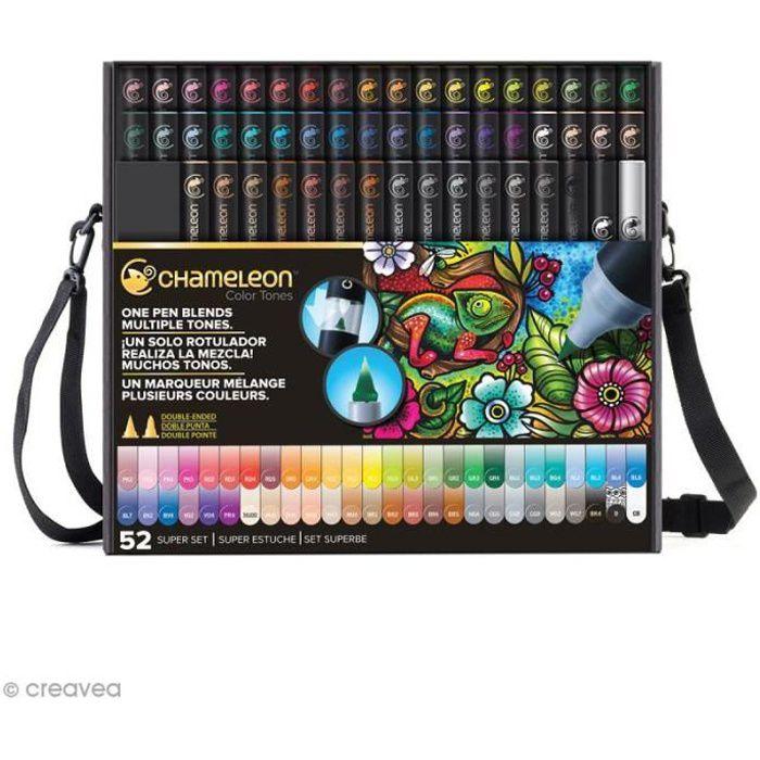 Coffret marqueurs Chameleon - Super Set - 52 feutres + accessoires Lot de marqueurs à alcool Chameleon : Collection : Deluxe