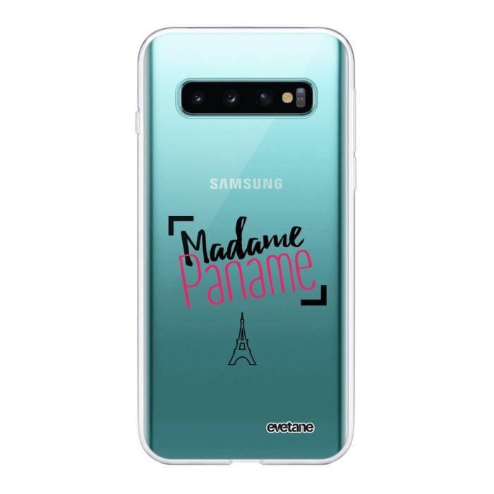 Coque Samsung Galaxy S10 Plus 360 intégrale transparente Madame paname Ecriture Tendance Design Evetane.