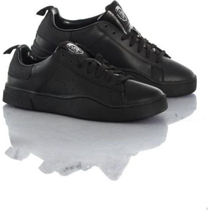 Diesel Baskets en cuir S-clever low black-black