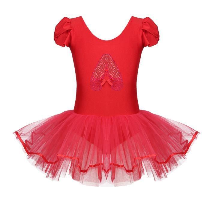 Enfant Fille Tutu de Danse Ballet Paillettes Leotard Bodysuit 2-10 Ans Rouge
