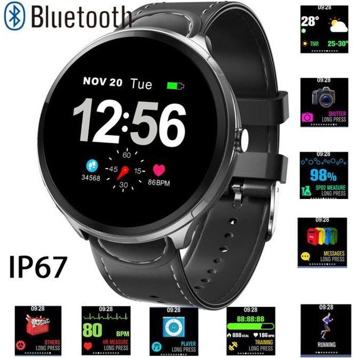 RMEGA® Montre Connectée Homme - Bluetooth - Smartwatch Montre -Intelligente - Sport Ecran Tactile pour Android - IP67 - Cuir