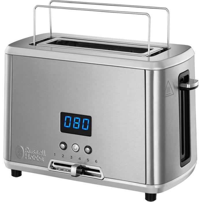 RUSSELL HOBBS 24200-56 Toaster Grille-Pain Compact Home, Température Ajustable, Rapide, Chauffe Viennoiserie - Inox