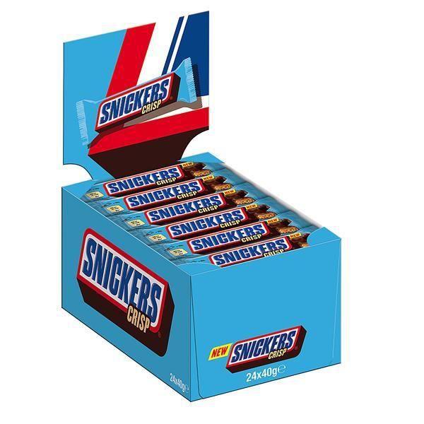 Snickers Crisp barre de chocolat 40g (Pack de 24)