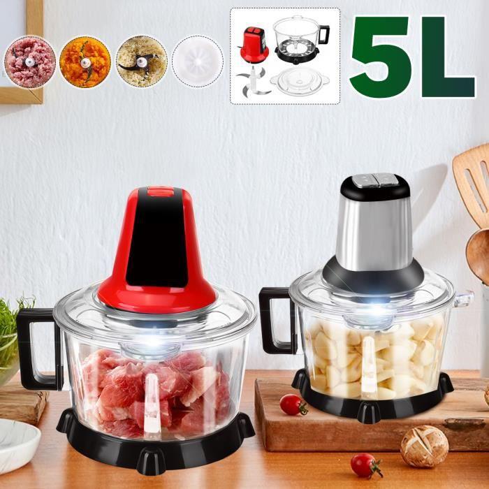 Hachoir Électrique 300W 5L 4 Lames Multifonction à Viande Légumes Mixeur Avec Interruptépice Culinaire Epice Ail Trancheuse Argent
