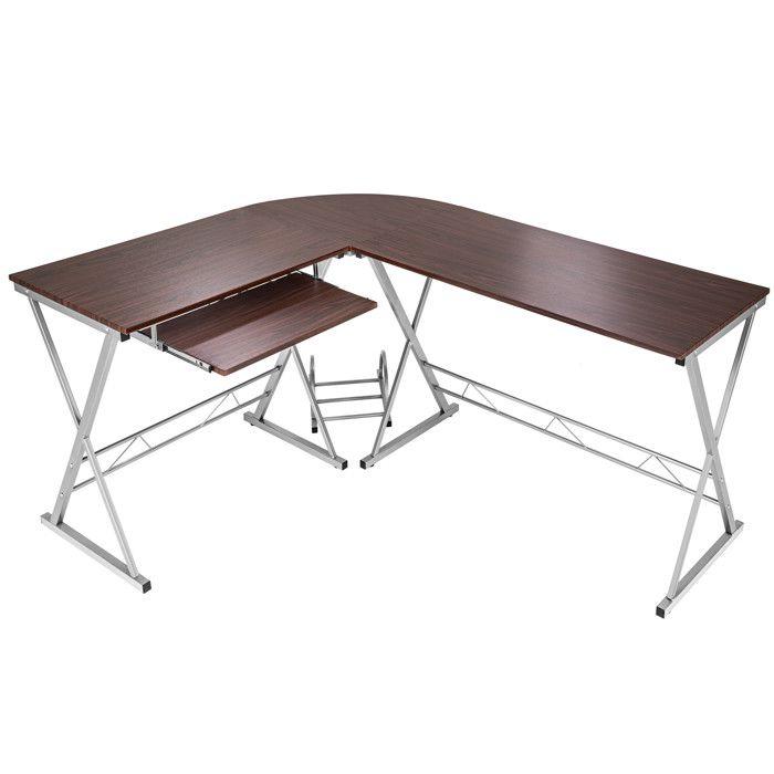 TECTAKE Bureau d'Angle Design Informatique Multimédia 170 cm x 135 cm x 75 cm Marron + 1 Tablette + 1 Support Unité Centrale