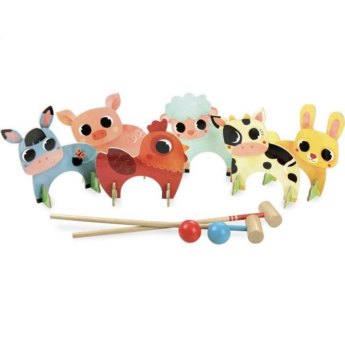 Croquet des animaux de la ferme Bois,Multicolore