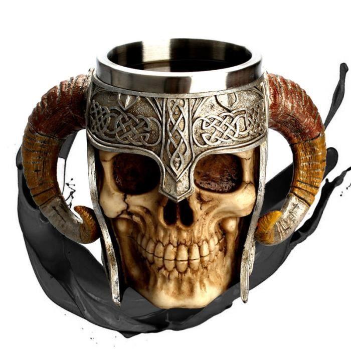 Tasse de crâne en acier inoxydable bière café tasse à boire en résine 3D Viking VERRE A BIERE - CHOPE A BIERE - BOLEE A CIDRE