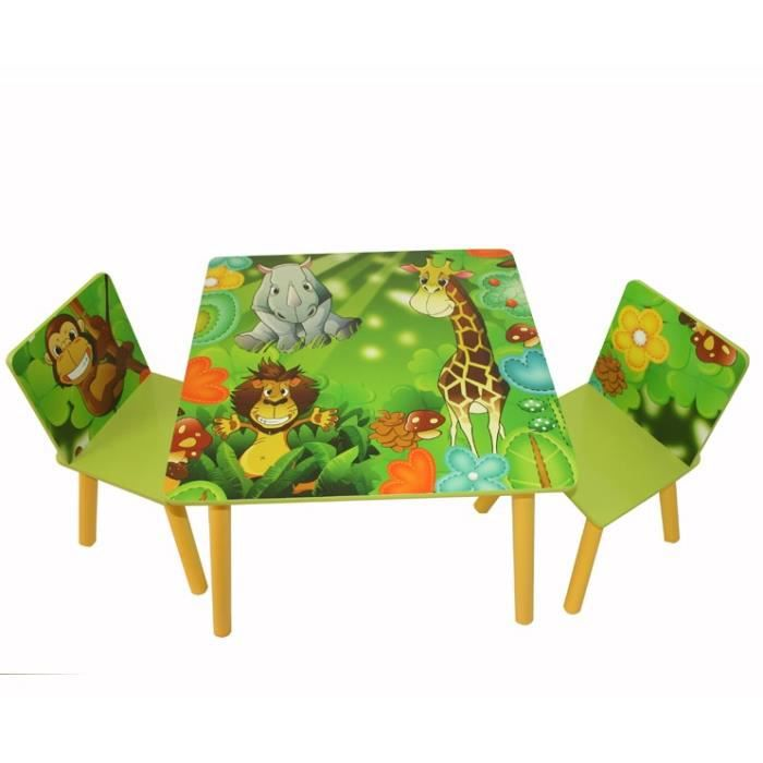 table avec 2 chaises pour enfant motif jungle achat vente chaise cdiscount. Black Bedroom Furniture Sets. Home Design Ideas