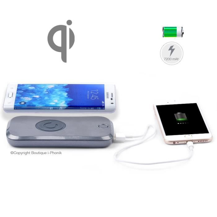 chargeur sans fil qi batterie externe powerbank 7200 mah achat chargeur t l phone pas cher. Black Bedroom Furniture Sets. Home Design Ideas