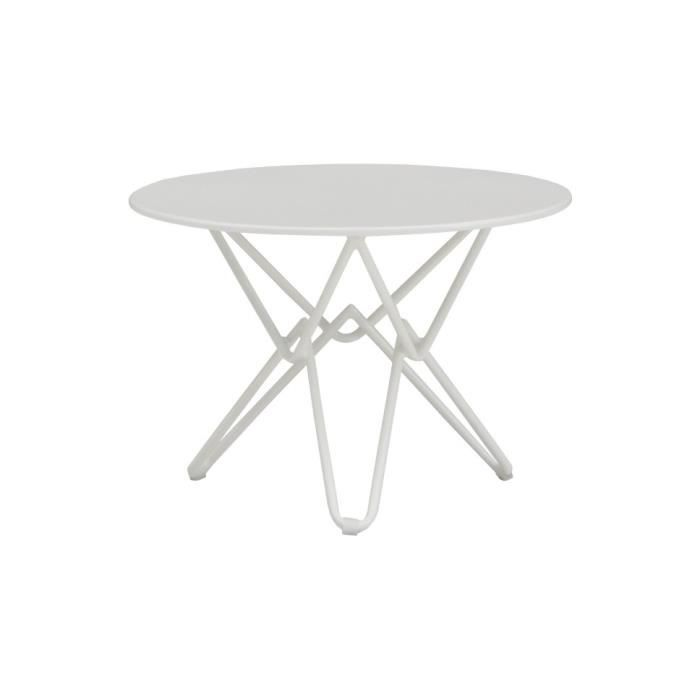 Table fer forg ronde blanc mat pieds entrelac s achat for Table fer forge ronde