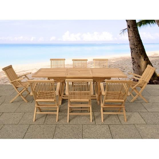 table et 8 chaises de jardin en bois achat vente salon de jardin cdiscount. Black Bedroom Furniture Sets. Home Design Ideas