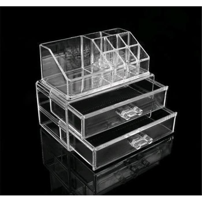 acrylique organisateur de cosm tique bo te de rangement bijoux maquillage 2 tiroirs transparent. Black Bedroom Furniture Sets. Home Design Ideas