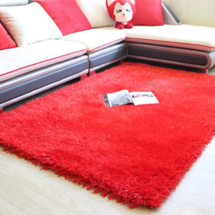 TAPIS Tapis rouge 160 * 230cm de poil doux Shaggy simple