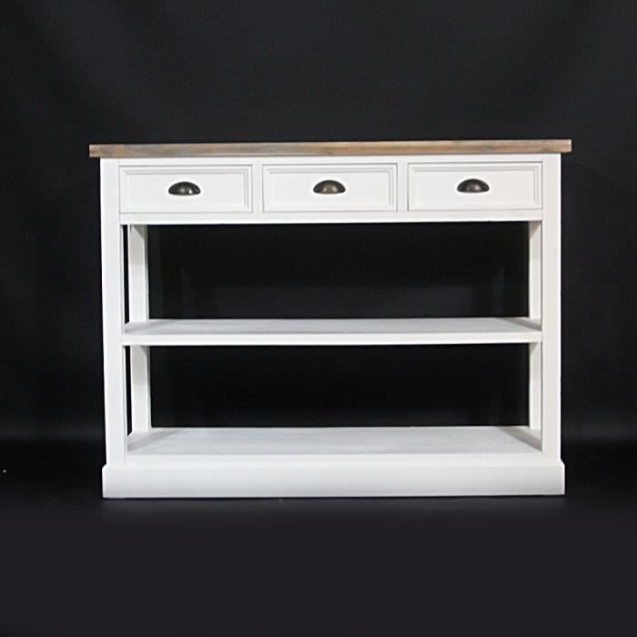 console lacanau en bois naturel et blanc natu achat vente console console lacanau en. Black Bedroom Furniture Sets. Home Design Ideas