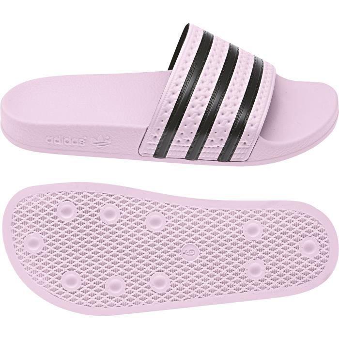 Claquettes femme adidas Adilette Rose clair/rose clair/noir ...