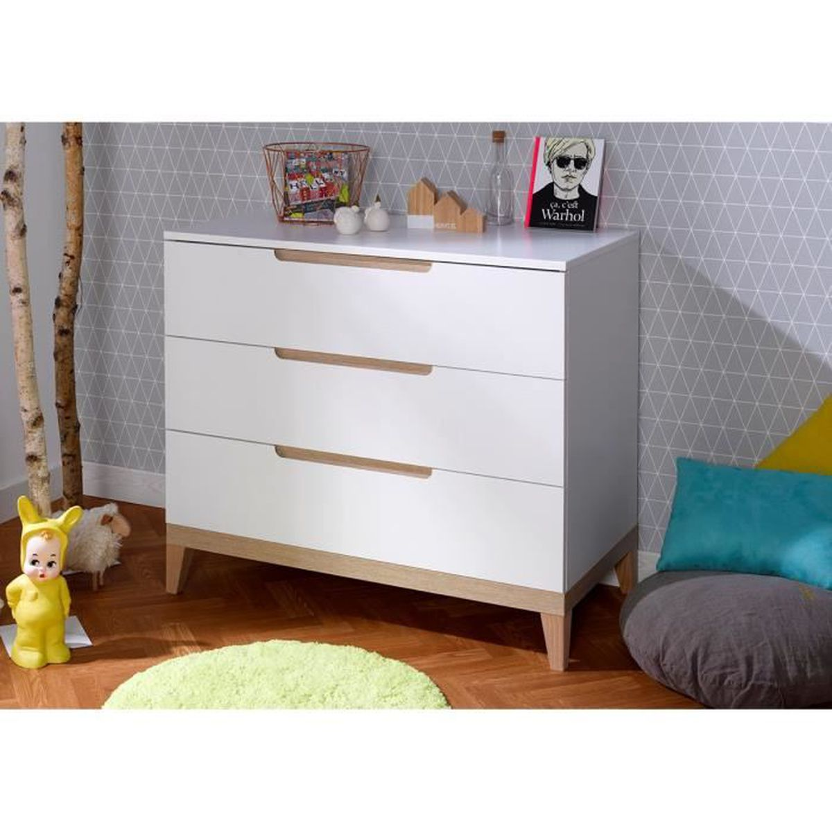 Table À Langer Petite petite chambre bébé avec table à langer blanc blanc - achat