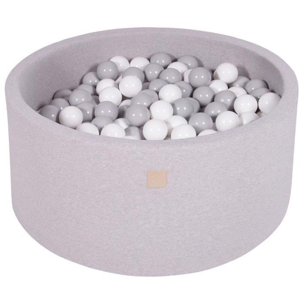 MEOWBABY 50 /∅ 7Cm Balles pour Piscine a Balles B/éb/é Adapt/é aux Enfants Fabriqu/é en UE Argent//Transparent//Perle Blanche