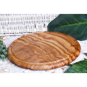 PLANCHE A DÉCOUPER carte de Steak 26 cm bois d'olivier rond avec rain