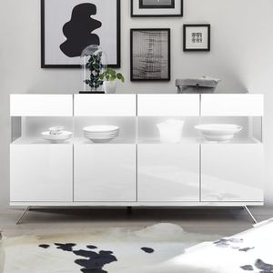 BUFFET - BAHUT  Enfilade LED 4 portes design blanc laqué CASTELLI