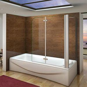 PORTE DE BAIGNOIRE Pare baignoire 90X140cm, paroi de douche fixe 70x1